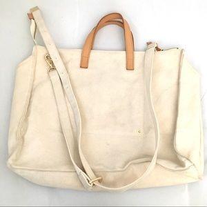 Cream canvas  zip tie brown leather handles